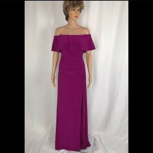 Gorgeous Magenta Off the Shoulder Evening Gown